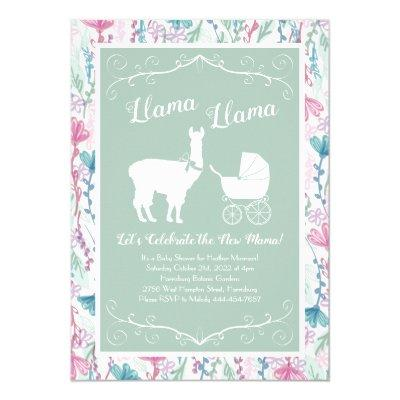 Llama Baby Shower Cute Green Gender Neutral Invitation