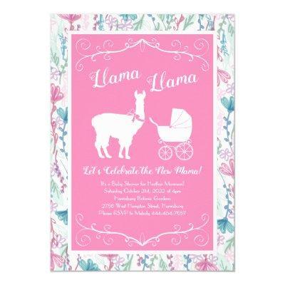 Llama Baby Shower Cute Pink Girl Invitation