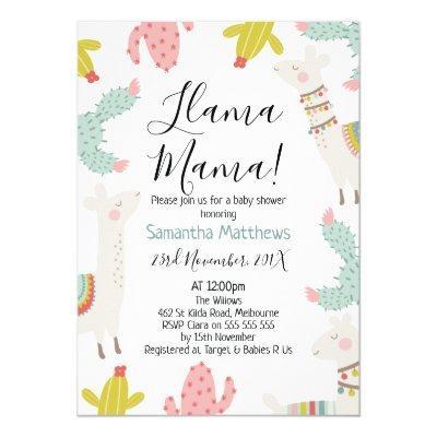 Llama Baby Shower Invitation