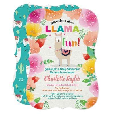 Llama fun baby shower invitation. Foloral alpaca Invitation
