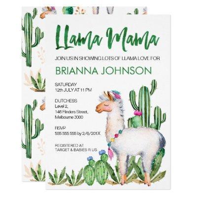 LLama Love Watercolor Baby Shower Invitations
