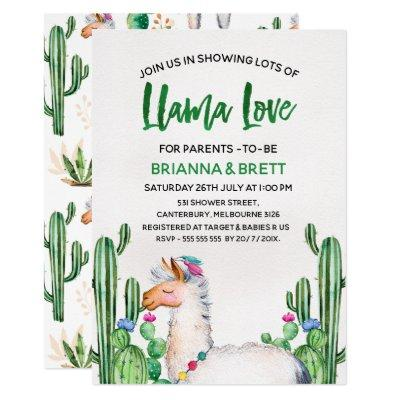 Llama Watercolor Baby Shower Invitations