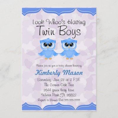 Look Whoo's Having Twin Boys Baby Shower Invite
