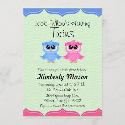 Look Whoo's Having Twins Baby Shower Invite