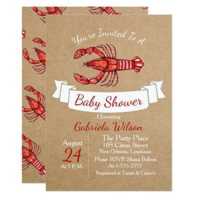 Louisiana Cajun Crawfish Baby Shower Invitation