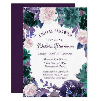 Love Bloom | Eggplant Purple Moody Bridal Shower Invitation