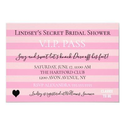 Love Pink Lingerie Bridal Shower Party Invitations