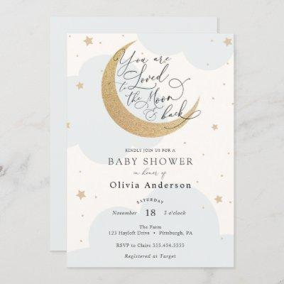 Loved to the Moon and Back Blue Baby Shower Invitation