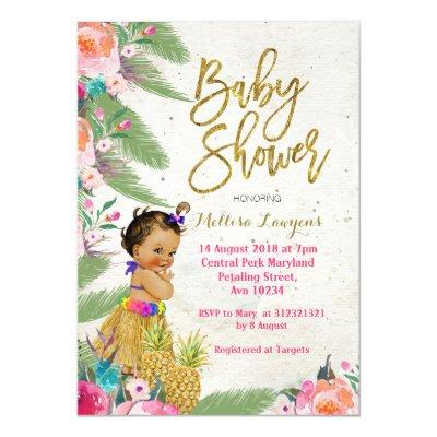 Luau Hawaiian Baby Shower Invitations