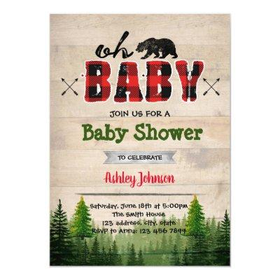 Lumberjack baby shower party invitation