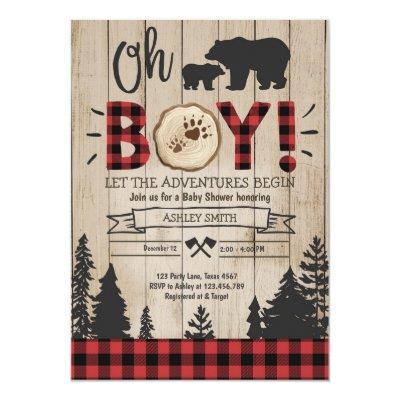 Lumberjack Baby Shower Woodland Bear Cub Plaid Boy Invitation