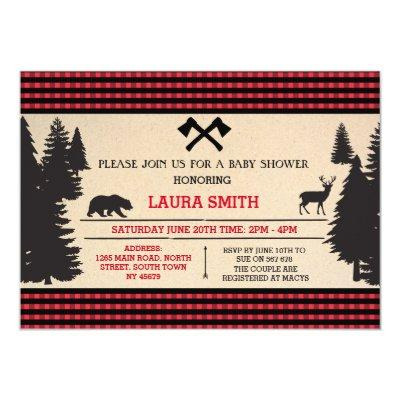 Lumberjack Baby Shower Woodland Invite Invitations