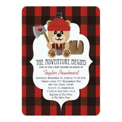 Lumberjack Bear Wilderness Themed Baby Shower Invitation