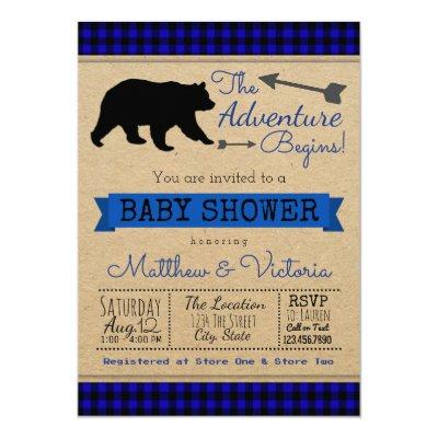 Lumberjack Blue Buffalo Plaid Boy Bear Baby Shower Invitations