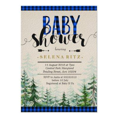 Lumberjack Blue Plaid Boy Baby Shower Invitation