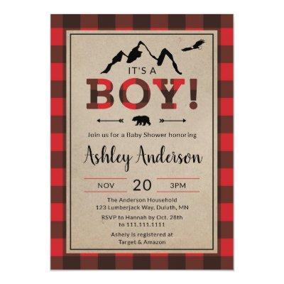 Lumberjack Boy Baby Shower Invitations