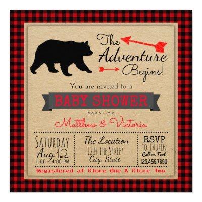 Lumberjack Buffalo Plaid Boys Bear Baby Shower Invitation