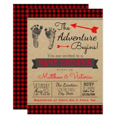 Lumberjack Buffalo Plaid Boys Boho Baby Shower Invitations