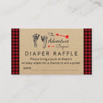 Lumberjack Buffalo Plaid Boys Diaper Raffle Ticket Enclosure Card
