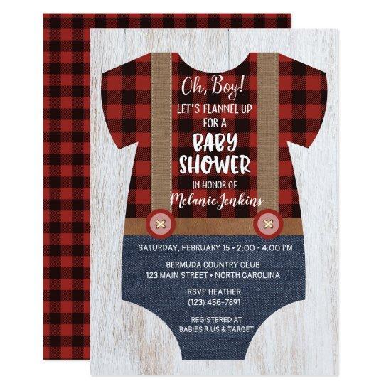 Lumberjack Flannel Boy Baby Shower Invitations