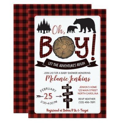 Lumberjack Flannel Boy Baby Shower Invitations Bear