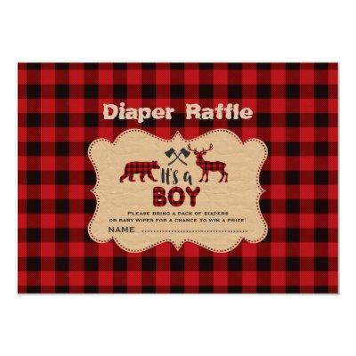 Lumberjack Little Hunter Boy Diaper Raffle Ticket Invitations