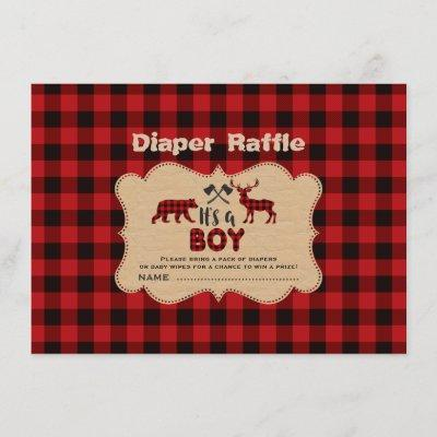 Lumberjack Little Hunter Boy Diaper Raffle Ticket Enclosure Card