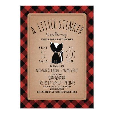 Lumberjack Plaid Skunk Baby Shower Invitation
