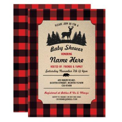 Lumberjack Red Baby Shower Woodland Invite