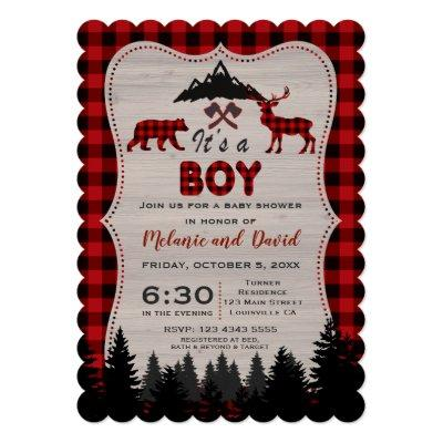 Lumberjack Red Buffalo Old Washed Barn Baby Shower Invitations