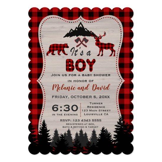 Lumberjack Red Buffalo Old Washed Barn Baby Shower Invitations