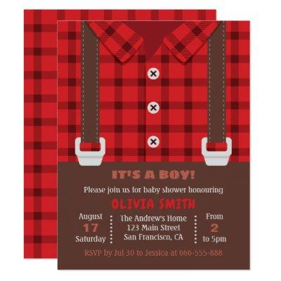 Lumberjack Red Buffalo Plaid Baby Boy Shower Invitation