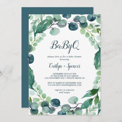 Lush Greenery and Eucalyptus BabyQ Invitation