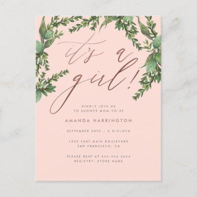 Lush Greenery Rose Gold It's A Girl Baby Shower Invitation Postcard