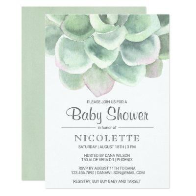 Lush Succulent Boy Baby Shower Invitations