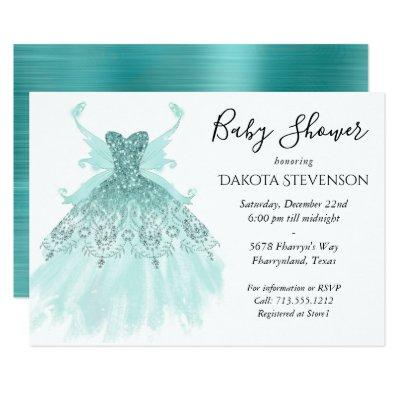 Luxe Turquoise Mint Fairy Wing Gown | Baby Shower Invitation