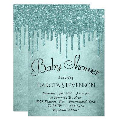Luxurious Drip Baby Shower | Glitter Pour Script Invitation