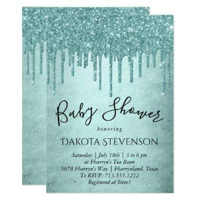 Luxury Drip Baby Shower | Pastel Mint Green Pour Invitation