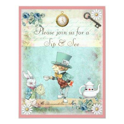 Mad Hatter Sip & See Baby Shower for Girls Invitation