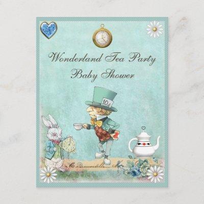 Mad Hatter Wonderland Tea Party Baby Shower Invitation