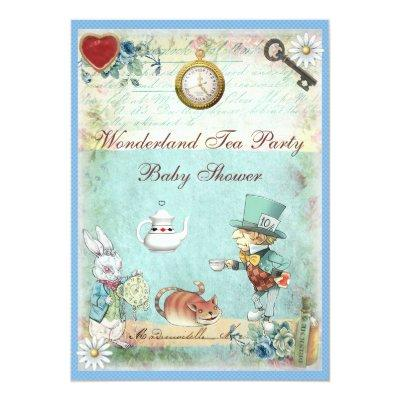 Mad Hatter Wonderland Tea Party Baby Shower Invitations