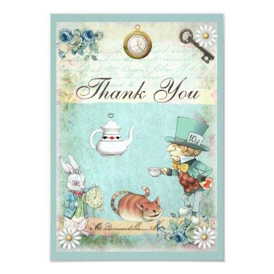 Mad Hatter Wonderland Tea Party Thank You Invitations