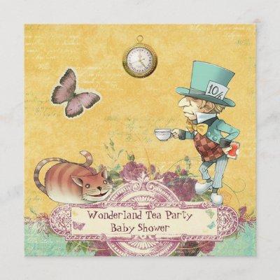 Mad Hatter's Wonderland Tea Party Baby Shower Invitation