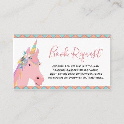 Magical Pink Unicorn Baby Shower Book Request Enclosure Card