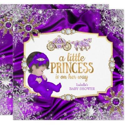 Magical Princess Girl Baby Shower Purple Brunette Invitation
