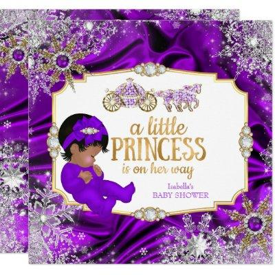 Magical Princess Girl Baby Shower Purple Ethnic Invitations