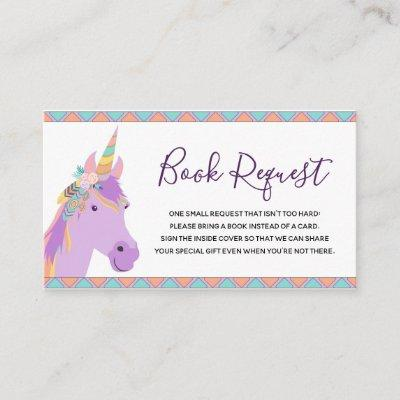 Magical Purple Unicorn Baby Shower Book Request Enclosure Card