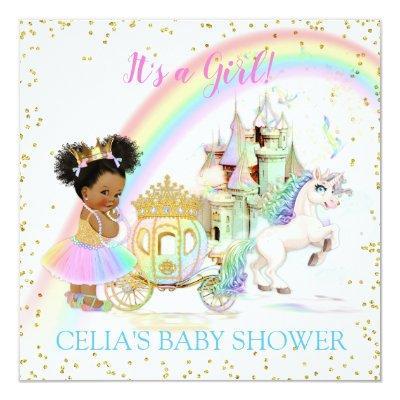 Magical Rainbow Princess Castle Carriage Unicorn Invitations