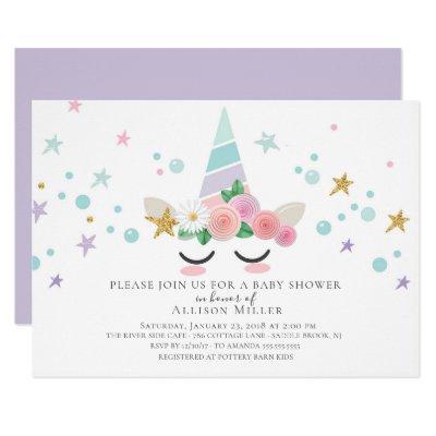 Magical Unicorn Baby Shower Invitations
