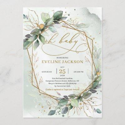 Magnificent boho greendy leaves gold oh baby invitation